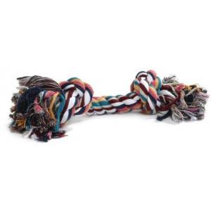 Flossytouw gekleurd met 2 knopen hondenspeelgoed