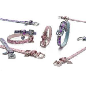 Luxo honden halsband chique roze en blauw