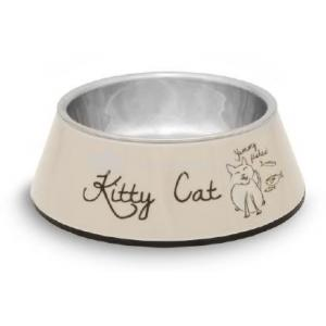 Melamine rvs eetbak kitty cat beige