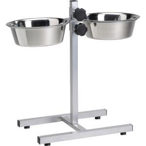Dagaanbieding - Hondenstandaard zilver met 2 rvs bakken dagelijkse koopjes