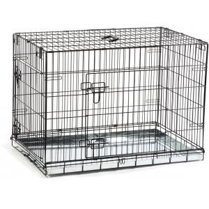 Dagaanbieding - Hondenbench 2 deurs inklapbaar zwart 89 X 60 X 66 cm dagelijkse koopjes