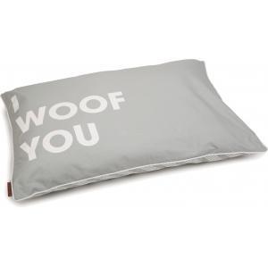 Hondenkussen Woof You lichtgrijs 100 x 70 cm