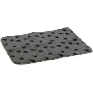 Vetbed afgebiesd voor hond met voetopdruk grijs 100 x 75 cm