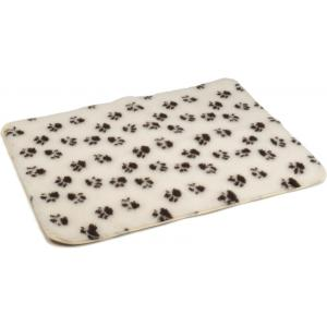 Vetbed antislip voor hond beige met voetprint 100 x 75 cm