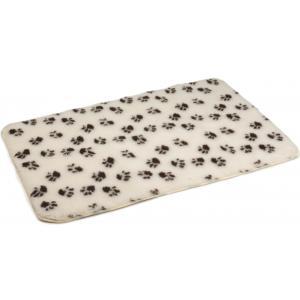 Vetbed antislip voor hond beige met voetprint 120 x 75 cm