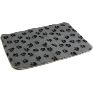 Vetbed afgebiesd met voetprint en antislip Grijs-100 x 75 cm