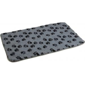 Vetbed antislip voor hond grijs met voetprint 120 x 75 cm
