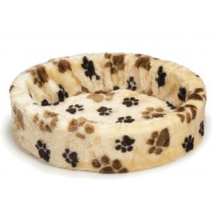 Dagaanbieding - Teddy hondenmand met grote voetprint creme 60 cm dagelijkse koopjes