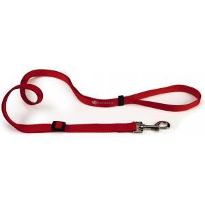 Hondenriem van nylon verstelbaar 180cm x 15mm rood