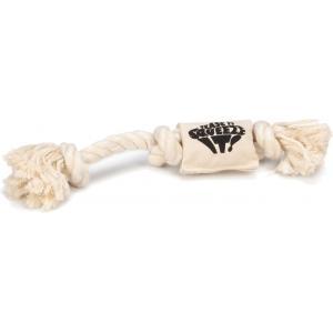 Flossytouw hondenspeeltje met squeaker creme 35 cm