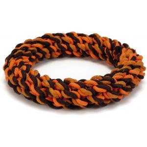 Hondenspeeltje touwring Orico oranje/bruin 19 cm