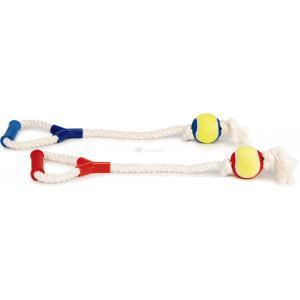 Katoenen touwtrekker met 1 tennisbal hondenspeeltje 60 cm