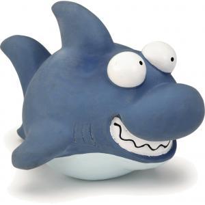 Latex hondenspeeltje Sharky blauw 19 cm