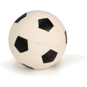 Latex hondenspeeltje voetbal zwart.wit 10 cm
