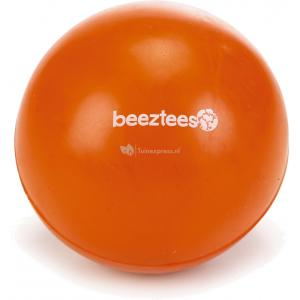 Rubber bal massief hondenspeeltje oranje 9 cm
