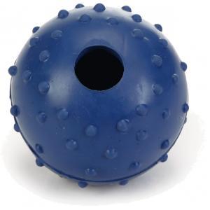 Rubber bal massief met bel hondenspeeltje blauw 5 cm