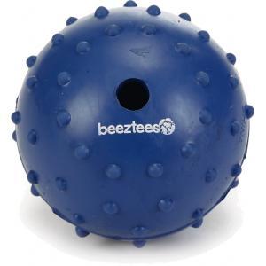 Rubber bal massief met bel hondenspeeltje blauw 7 cm