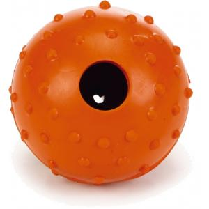 Rubber bal massief met bel hondenspeeltje oranje 5 cm