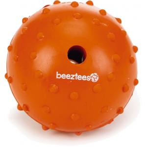 Rubber bal massief met bel hondenspeeltje oranje 7 cm