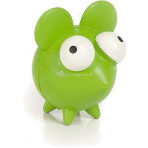 Rubber hondenspeeltje Mixie Mouse groen 6 cm