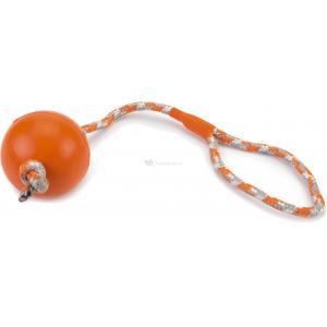 Rubberen bal aan koord hondenspeeltje oranje 30 cm