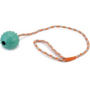 Rubberen bal met bel aan koord hondenspeeltje mint 60 cm