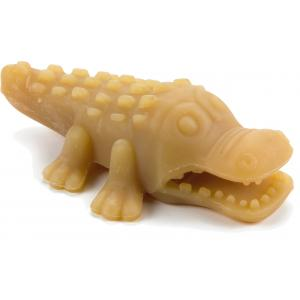 Rubberen hondenspeeltje voor puppy kroko naturel 11 cm