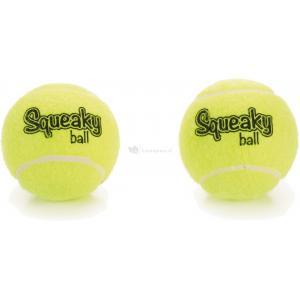 Tennisbal met pieper hondenspeeltje 2 stuks geel 8 cm