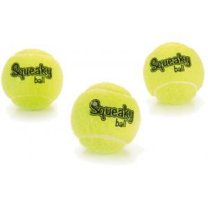 Tennisbal met pieper hondenspeeltje 3 stuks geel 6.5 cm