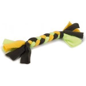 Textiel hondenspeeltje vlechttouw groen/geel 20 cm