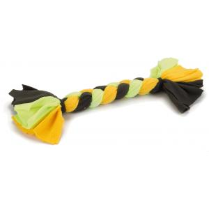 Textiel hondenspeeltje vlechttouw groen/geel 35 cm