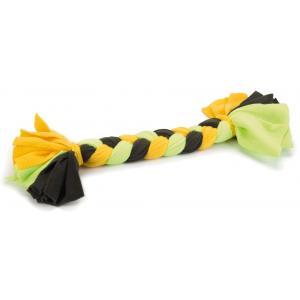 Textiel hondenspeeltje vlechttouw groen/geel 46 cm
