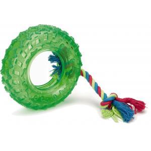 TPR autowiel aan koord hondenspeeltje groen 15 cm
