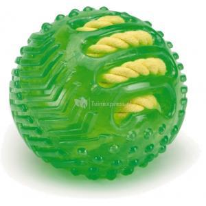TPR bal met gevlochten touw hondenspeeltje groen 9 cm