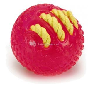 TPR bal met gevlochten touw hondenspeeltje roze 8 cm