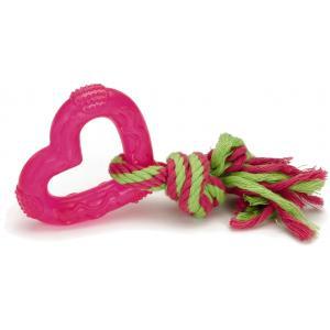 TPR hondenspeeltje Love Heart roze 8 cm