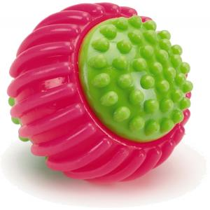 TPR hondenspeeltje ribbelbal roze 8 cm