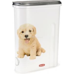 Curver 1,5 kg 4,5 liter voedselcontainer opdruk hond wit-zilver