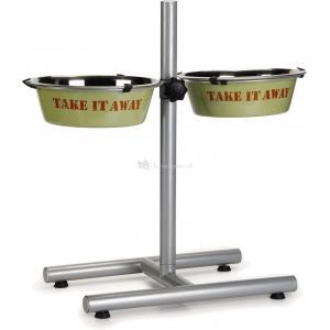 Standaard Take Away met 2 groene 25 cm hondenvoerbakkenbakken