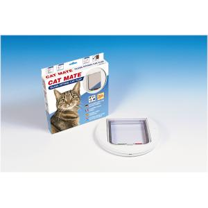 Cat Mate kattenluik met vierwegsluiting 30mm rond wit
