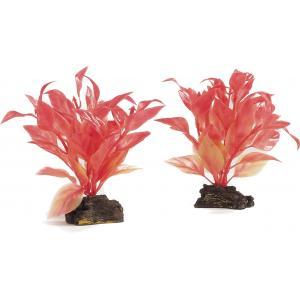 Kunststof aquariumplant rood set van 2 stuks