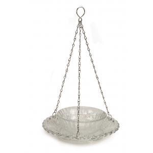 Vogelvoederschaal glas hangend dubbel