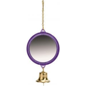 Spiegel met bel voor vogels rond