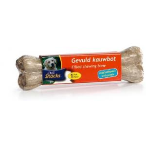DeliSnacks gevuld kauwbot met bullepees hondensnack 1 stuks 15 cm